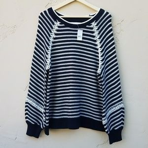 NWT Ann Taylor LOFT Striped Sweater Top Size Large